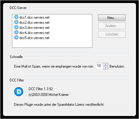 Einstellungen für DCC-Filter