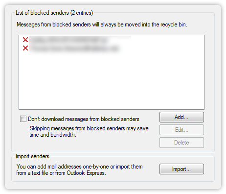 Settings for Blocked Senders