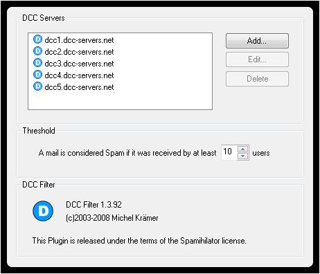 DCC Filter Settings
