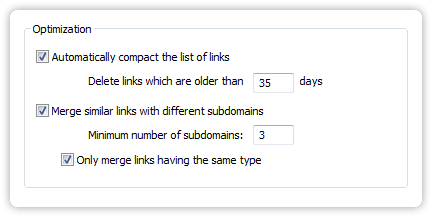 The Link Filter's settings