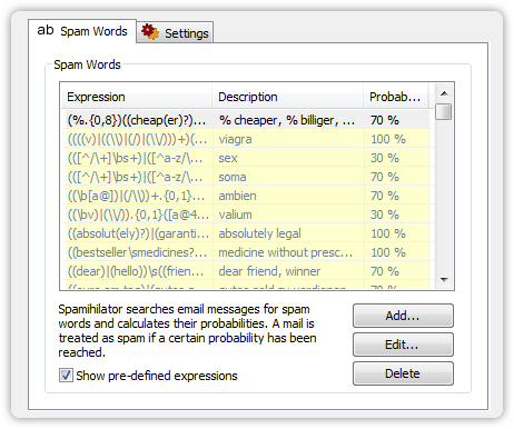 Settings for Spam Words